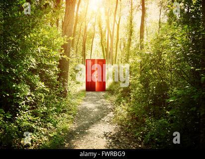 Une porte rouge est sur un sentier dans les bois avec des arbres pour un concept théorique à propos de la foi, de Banque D'Images