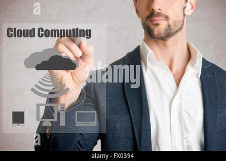 Dessin homme computer concept cloud sur verre, isolé en gris