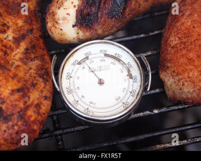 Morceaux de poulet cuisson Grill Thermomètre de surface environnantes