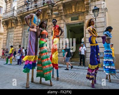 Portrait horizontal d'échassiers qui pose pour une photographie à La Havane, Cuba.