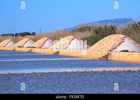 La Saline, Marsala, Mozia, Sicile, Italie Banque D'Images