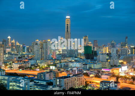 La ville de Bangkok en vue de nuit, Thaïlande Banque D'Images