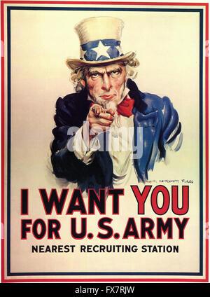 L'Oncle Sam - je veux que vous pour l'armée américaine - La Seconde Guerre mondiale affiche de propagande - U.S Banque D'Images