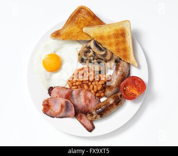 Petit-déjeuner sur la plaque blanche frit Banque D'Images