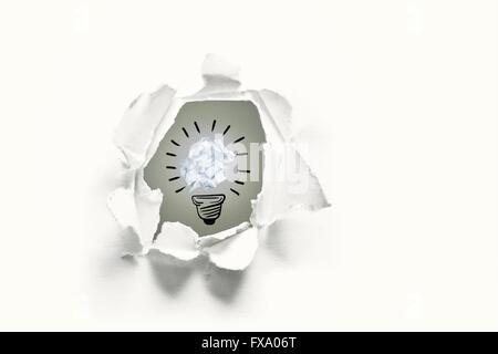 Image composite de cinq bulbes dont l'un est en train de fonctionner Banque D'Images