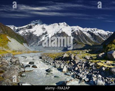 Lever du soleil des Alpes du Sud, Nouvelle-Zélande Banque D'Images