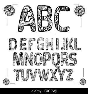 Zentangle Noir Alphabet Banque D'Images