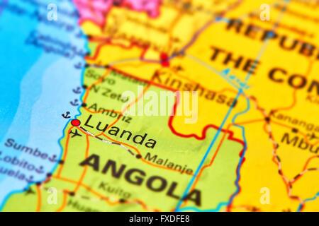Luanda, capitale de l'Angola à l'Afrique sur la carte du monde Banque D'Images