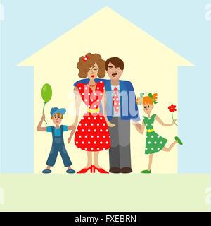 Portrait de quatre états happy family posing élégant ensemble. Les parents avec les enfants. illustration colorée Banque D'Images