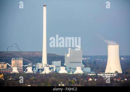 Centrale électrique alimentée au charbon STEAG à Herne, Allemagne, Hoheward heap dans le dos,