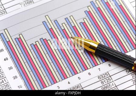 Le graphique indique la croissance du marché des actions Banque D'Images