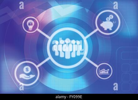 Illustration du symbole. Les dirigeants d'entreprise et graphique graphique. Tirelire avec dollar et euro sign Banque D'Images