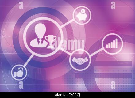 Les icônes d'illustration de l'entreprise champion, réunion d'affaires, la courbe de croissance, l'épargne Banque D'Images