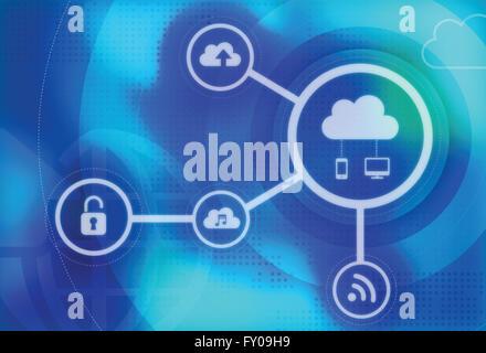Image d'illustration du concept de cloud computing sécurisé Banque D'Images
