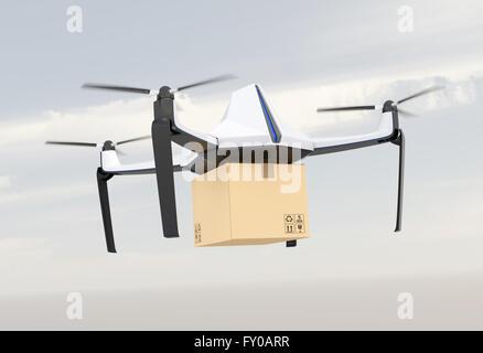 Drone sans pilote autonome la prestation de carton dans le ciel. Le rendu 3D image. Banque D'Images