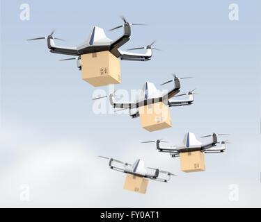 Des drones autonomes offrant carton dans le ciel. Le rendu 3D image. Banque D'Images