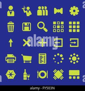 Restaurant mobile app icône vecteur ensemble design. Collection de symboles liés aux logiciels et applications, serveurs de restaurant et de l'alimentation
