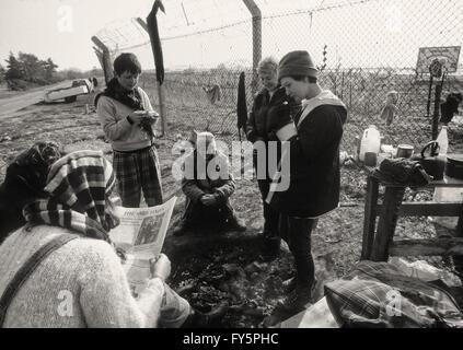 En 1981, la protestation des femmes Greenham camp a été créé pour protester contre les missiles de croisière américains Banque D'Images