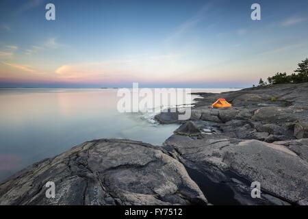 Soirée à Påvskär island, Sunday, la Finlande, l'Europe, l'UNION EUROPÉENNE Banque D'Images