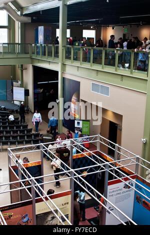 L'apprentissage de l'intérieur et un espace d'exposition du McAuliffe-Shepard Discovery Center à Concord, New Hampshire. Banque D'Images