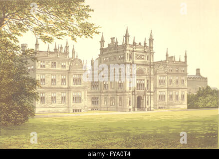 CORSHAM COURT, Corsham, Wiltshire (Lord Methuen), antique print 1890 Banque D'Images