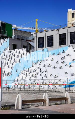 Photo murale et crane dans tremblement de reconstruire, Worcester Street, Christchurch, Canterbury, Nouvelle-Zélande Région Banque D'Images