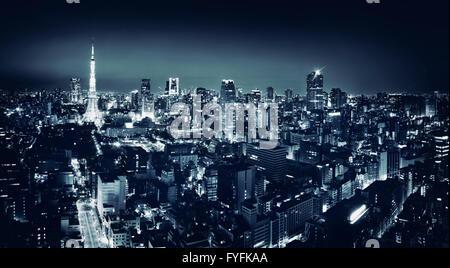 Cityscape at night, Minato, Tokyo, Japon Banque D'Images