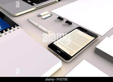 Lire concept: Vue rapprochée d'un smartphone 3D générée touchscreeen avec l'ibook sur l'écran. Écran graphique Banque D'Images