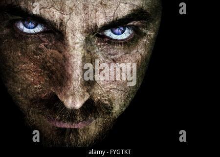Le mal effrayant visage avec les yeux Spooky