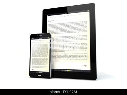 Le rendu d'un tablet pc et un téléphone intelligent avec un livre sur l'écran de l'app Banque D'Images