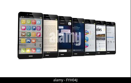 Rendre des sept téléphones intelligents avec les différentes applications sur l'écran Banque D'Images