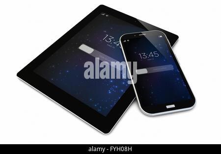 Rendre des smartphone verrouillé et tablette Banque D'Images