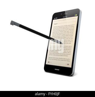 Le rendu d'un bloc-notes avec stylo et de l'app sur l'écran Banque D'Images