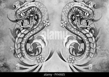 Les serpents. Conception de tatouage sur fond gris. toile texturée. L'image artistique Banque D'Images