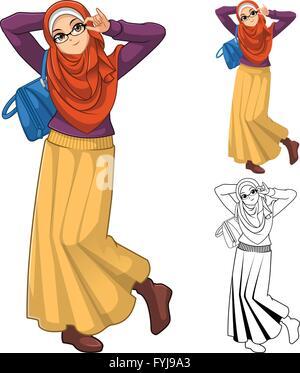Mode femme musulmane portant le voile ou un foulard orange avec sac bleu et jupe Outfit: Télévision Conception Banque D'Images