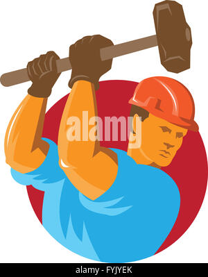 Construction Worker With Sledgehammer Banque D'Images