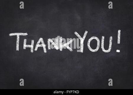 Merci - texte blanc sur noir chalkboard Banque D'Images