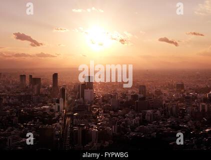 Paysage urbain, au coucher du soleil, Shibuya, Tokyo, Japon Banque D'Images