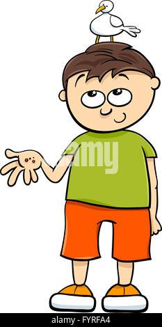 Garçon avec bird cartoon Banque D'Images