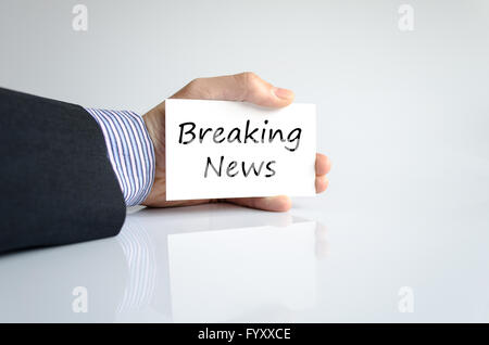 Breaking news concept texte Banque D'Images
