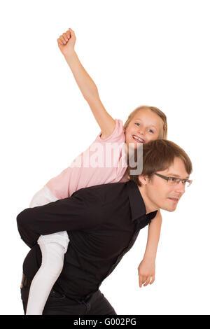 Père l'piggyback ride à sa fille Banque D'Images