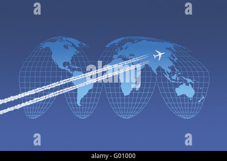 Avion en face d'une carte du monde en Goode-Projection