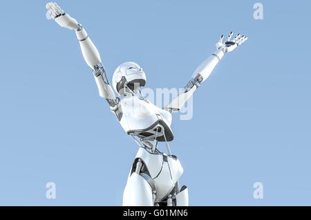 Robot humanoïde femelle avec des bras soulevé vers le ciel en exaltation Banque D'Images
