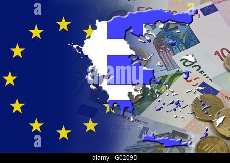 Crise financière et économique dans la zone euro en Europe du pays Grèce Banque D'Images