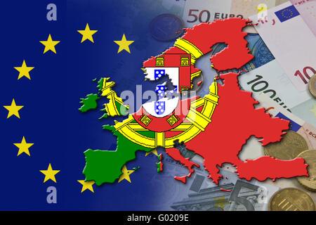 Crise financière et économique dans la zone euro dans les pays Portugal Europe Banque D'Images