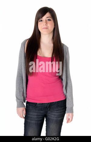 Jeune fille debout isolé sur fond blanc Banque D'Images