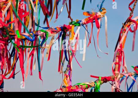 Tiens arbre branches attachées avec des rubans colorés