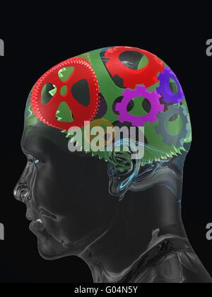 Crâne de l'homme transparent avec pignons courbe couleur Banque D'Images