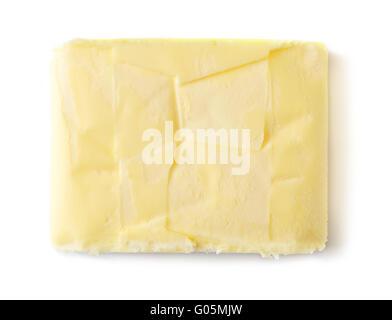 Beurre isolé sur fond blanc, vue du dessus Banque D'Images