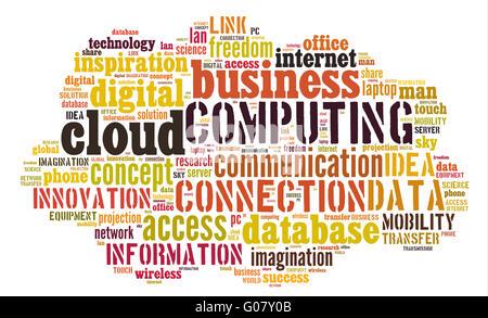 Le cloud computing Les pictogrammes sur fond blanc Banque D'Images